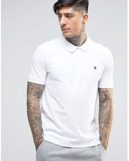 Winston Pique Polo Slim Fit Small Logo In White