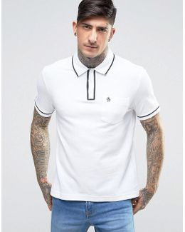 Earl Pique Polo Slim Fit Tipped Logo In White