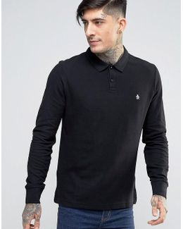 Winston Pique Polo Long Sleeve Slim Fit In Black