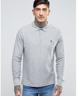 Winston Pique Polo Long Sleeve Slim Fit In Gray Marl