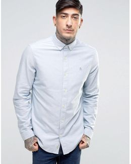 Slim Oxford Shirt Buttondown Tonal Logo In Blue