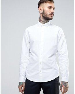 Slim Oxford Shirt Buttondown Tonal Logo In White