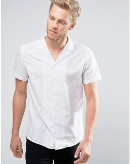 By Boss Endo Shirt Short Sleeve Revere Collar Grid Print Slim Fit In White
