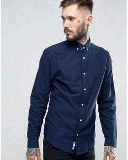 Slim Oxford Shirt Buttondown Tonal Logo In Navy