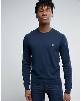 Crew Sweater Cotton Small Logo In Navy