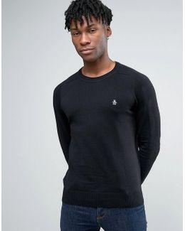 Crew Sweater Cotton Small Logo In Black