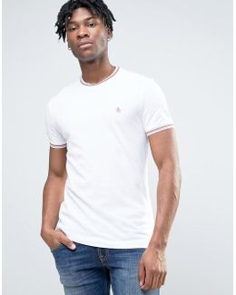 Pique Ringer T-shirt Tipped Slim Fit In White