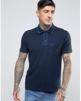 Earl Waffle Polo Slim Fit Tipped Logo In Navy