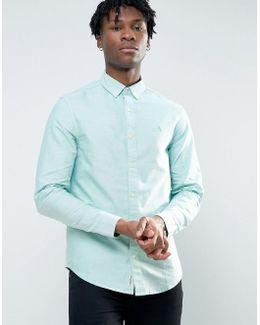 Slim Oxford Shirt Buttondown Melange In Green