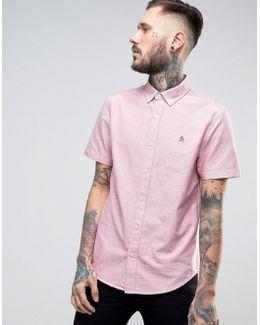 Slim Oxford Shirt Short Sleeve Buttondown In Red Marl