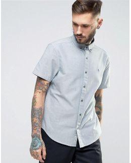 Slim Oxford Shirt Short Sleeve Buttondown In Navy Marl