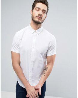 Slim Oxford Shirt Short Sleeve Buttondown In White
