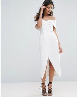 Floating Bardot Wrap Midi Dress