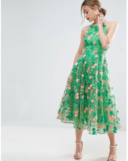 Salon Floral Embroidered Backless Pinny Midi Prom Dress