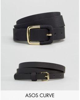 2 Pack Skinny Waist Belt And Jeans Belt
