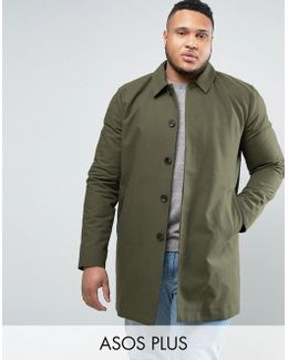 Plus Single Breasted Trench Coat With Shower Resistance In Khaki