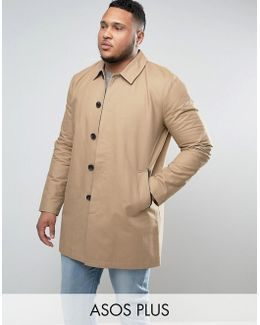 Plus Single Breasted Trench Coat With Shower Resistance In Stone