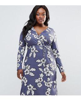 Plus Midi Dress With Wrap Front