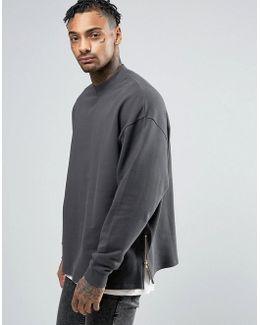 Oversized Sweatshirt With Side Zips