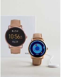 Q Wander Leather Smart Watch In Beige