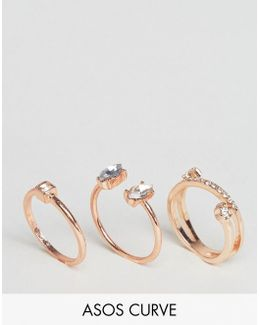 Pack Of 3 Jewel Rings