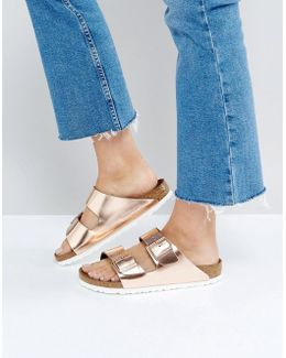 Arizona Metallic Copper Leather Flat Sandals