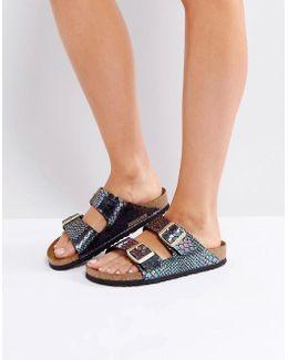Arizona Birko Shiny Snake Flat Sandals