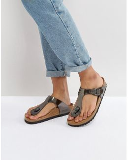 Gizeh Metallic Anthracite Leather Flat Sandals