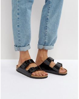 Arizona Birko Black Patent Flat Sandals