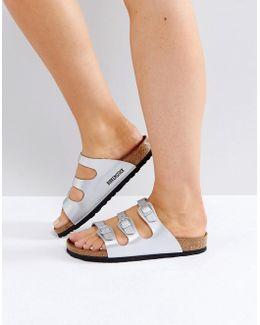 Florida Birko Silver Flat Sandals