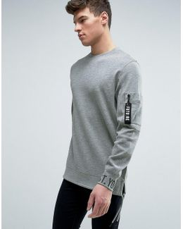Core Longline Sweatshirt With Cuff Print And Arm Pocket