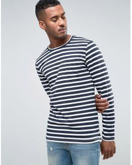 Core Long Sleeve Top With Stripe And Pocket