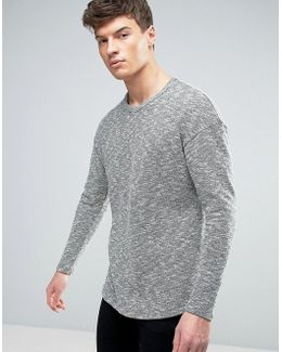 Originals Longline Knitted Sweater With Curved Hem In Mixed Yarn