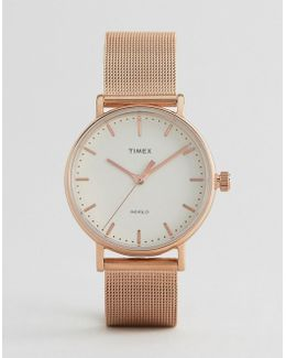 Fairfield 37mm Mesh Watch In Rose Gold