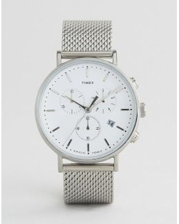 Fairfield Chronograph 41mm Mesh Watch In Silver