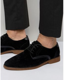 Lace Up Shoes In Black Suedette With Contrast Details