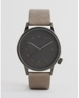 Winston Regal Leather Watch In Beige