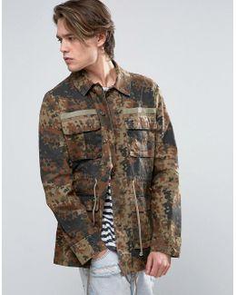 Military Jacket In Flecktarn Camo Print
