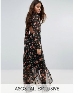 Maxi Dress In Pretty Floral With Open Back