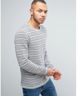 Vintage Knitted Sweater With Stripe Detail