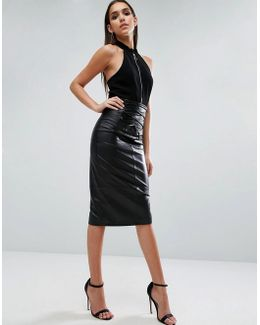 Leather Skirt With High Waist Corset Detail