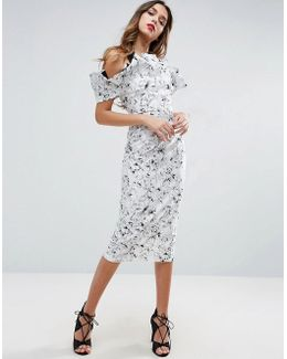 Mono Ruffle Longer Length Midi Dress