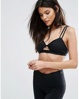 Twist Front Sports Bralette With Lace Back