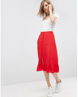 Button Through Midi Skirt With Frill Hem