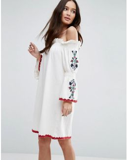 Off Shoulder Sundress With Embroidered Sleeves