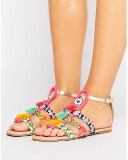 Fiesta Pom Pom Embellished Sandal