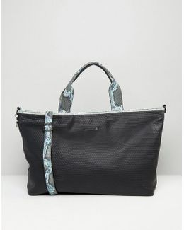 Textured Weekender Travel Bag With Faux Snakeskin Trim