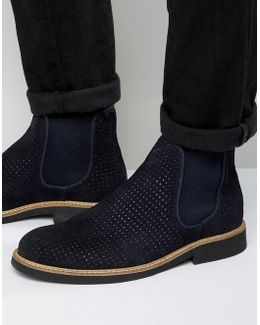 Noah Perforated Suede Chelsea Boots