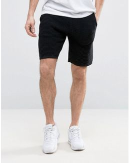 Knitted Textured Shorts In Black