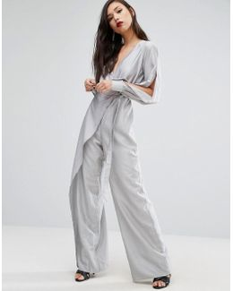 Wide Leg Jumpsuit With Split Sleeves